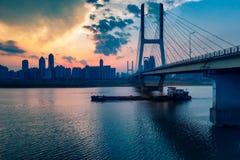 Sunset glow-Nanchang Bayi Bridge. Bayi Bridge is the first cable stayed bridge in Jiangxi Province, and the longest cable stayed bridge in Nanchang City, Jiangxi royalty free stock photography