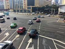 Crisscross streets-Corner of modern city. Bayi Square is located in East Lake District, Nanchang City, Jiangxi province. It is the heart of Nanchang, the largest royalty free stock photos