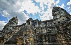 Bayon寺庙和吴哥窟高棉复合体在暹粒,柬埔寨 免版税图库摄影