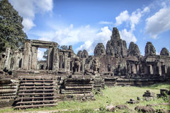 Bayon寺庙在暹粒,柬埔寨 库存图片