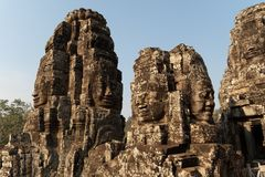 Bayon寺庙的石面孔在吴哥窟 免版税库存图片