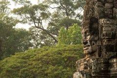 Bayon面对与密林 免版税库存图片