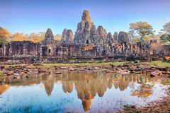 Bayon świątynia, Angkor, Siem Przeprowadza żniwa, Kambodża Zdjęcia Stock