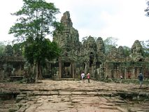 Bayon. Entrance to the temple of Bayon, biggest temple of the archeological site of Angkor Thom Royalty Free Stock Photography