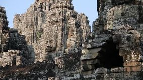 Bayon - ancient Khmer temple in Angkor Thom temple complex, Cambodia stock video