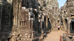 Bayon - ancient Khmer temple in Angkor Thom temple complex, Cambodia stock video footage