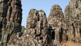 Bayon - ancient Khmer temple in Angkor Thom temple complex in Cambodia stock video footage