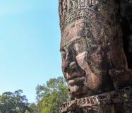 Bayon. Ancient stone faces of Bayon temple, Cambodia stock photo