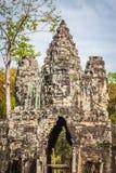 Τα πρόσωπα του αρχαίου ναού Bayon σε Angkor Wat, Siem συγκεντρώνουν, Καμπότζη Στοκ Φωτογραφία