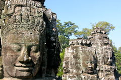 Bayon, Cambodia. Smiling face of the king Jayavarman VII in the temple of Bayon, Angkor Wat, Siem Riep, Cambodia Stock Image