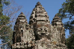 Bayon face cravings in Angkor Wat complex Stock Image