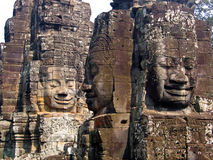 Bayon faces. Faces of king stone carved at temple bayon in angkor wat Cambodia Royalty Free Stock Image