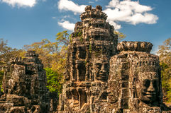 Bayon Head. In Bayon Temple Royalty Free Stock Photo