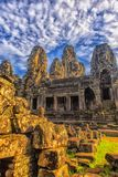 bayon kamienia twarze ludzie, siem przeprowadzają żniwa, Kambodża, byli inscri Obraz Stock