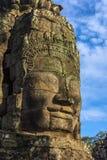 bayon kamienia twarze ludzie, siem przeprowadzają żniwa, Kambodża, byli inscri Obraz Royalty Free
