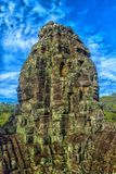 bayon kamienia twarze ludzie, siem przeprowadzają żniwa, Kambodża, byli inscri Zdjęcie Royalty Free