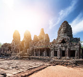 Bayon khmer temple on Angkor Wat historical place Royalty Free Stock Photo