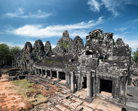 Bayon khmer temple on Angkor Wat historical place in Cambodia Royalty Free Stock Photography