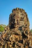 bayon oogst het gezicht in angkor van de bayontempel wat siem Kambodja stock afbeelding