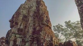 bayon oogst het gezicht in angkor van de bayontempel wat siem Kambodja royalty-vrije stock fotografie