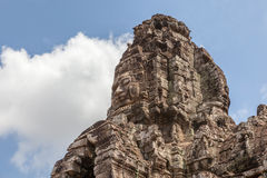 Bayon stone face in Angkor Wat, Siem Reap, Cambodia. Royalty Free Stock Photo