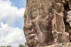 Bayon stone face in Angkor Wat, Siem Reap, Cambodia. Royalty Free Stock Images