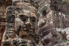 Bayon stone face in Angkor Wat, Siem Reap, Cambodia. Stock Image