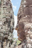 Bayon stone face tower in Angkor Wat, Siem Reap, Cambodia. Royalty Free Stock Photography