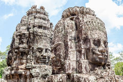 Bayon stone faces tower in Angkor Wat, Siem Reap, Cambodia. Stock Image