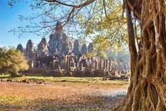 Bayon tempel, Angkor, Siem Reap, Cambodja Royaltyfri Foto
