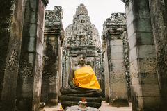 Bayon tempel i Angkor i Cambodja Arkivbilder