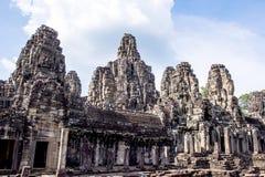 Bayon tempel i Angkor Thom Arkivbilder