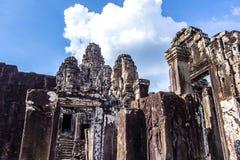 Bayon tempel i Angkor Thom Arkivfoto