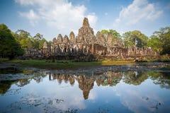 Bayon tempel i Cambodja Arkivfoto
