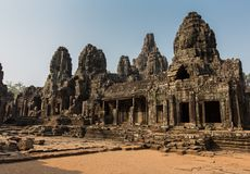 Bayon tempel på Angkor Wat Historical Complex Royaltyfri Fotografi