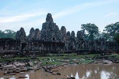 Bayon tempel p? det Angkor Wat komplexet, Siem Reap, Cambodja arkivfoton