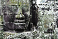 Bayon Temple. Close up of details of face carving in the Buddhist Temple Bayon near Angkor Wat Siam Reap Cambodia Stock Photography