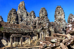 Bayon temple in Angkor Thom, Siem Reap, Cambodia Stock Photos