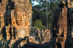 Bayon temple in angkor thom. Stone heads on towers of Bayon temple in Angkor Thom, Cambodia Royalty Free Stock Image
