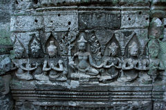 Bayon temple in angkor thom. Stone heads on towers of Bayon temple in Angkor Thom, Cambodia Royalty Free Stock Photos