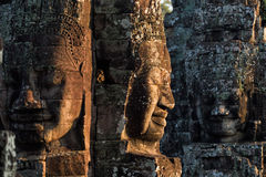 Bayon temple in angkor thom. Stone heads on towers of Bayon temple in Angkor Thom, Cambodia Royalty Free Stock Photo