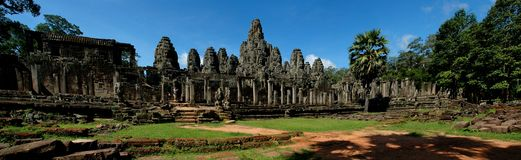 Bayon Temple Angkor Wat. Panorama of Stone Faces at the temple in Cambodia Stock Photos
