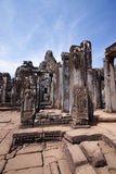 Bayon temple, Angkor wat, Cambodia. A terrace view with Apsara curved on stone column in Bayon temple, Angkor wat, Cambodia Stock Photography