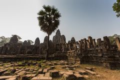 Bayon Temple at Angkor Wat Historical Complex. Bayon Temple one of the archaeological sites at the Angkor Wat Buddhist temple complex in Siem Reap Cambodia. This Stock Images