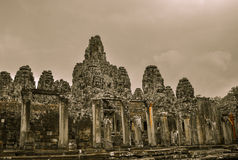 Bayon Temple and Angkor Wat Khmer complex in Siem Reap, Cambodia Royalty Free Stock Photos