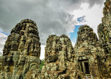Bayon Temple and Angkor Wat Khmer complex in Siem Reap, Cambodia Stock Photo