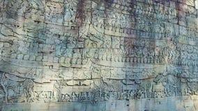 Bayon Temple bas relief stock footage