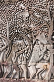 Bayon Temple Bas Relief of Khmer Warriors Royalty Free Stock Photos