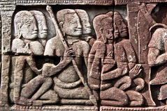 Free Bayon Temple Bas Relief Of Khmer Warriors Royalty Free Stock Images - 12182039