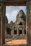 Bayon temple through the door Royalty Free Stock Photos